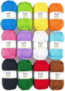 12 Multicolor Knitting and Crochet Yarn Bulk