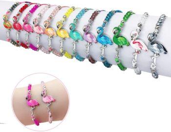12pc Flamingo Crystal Bead Bracelet