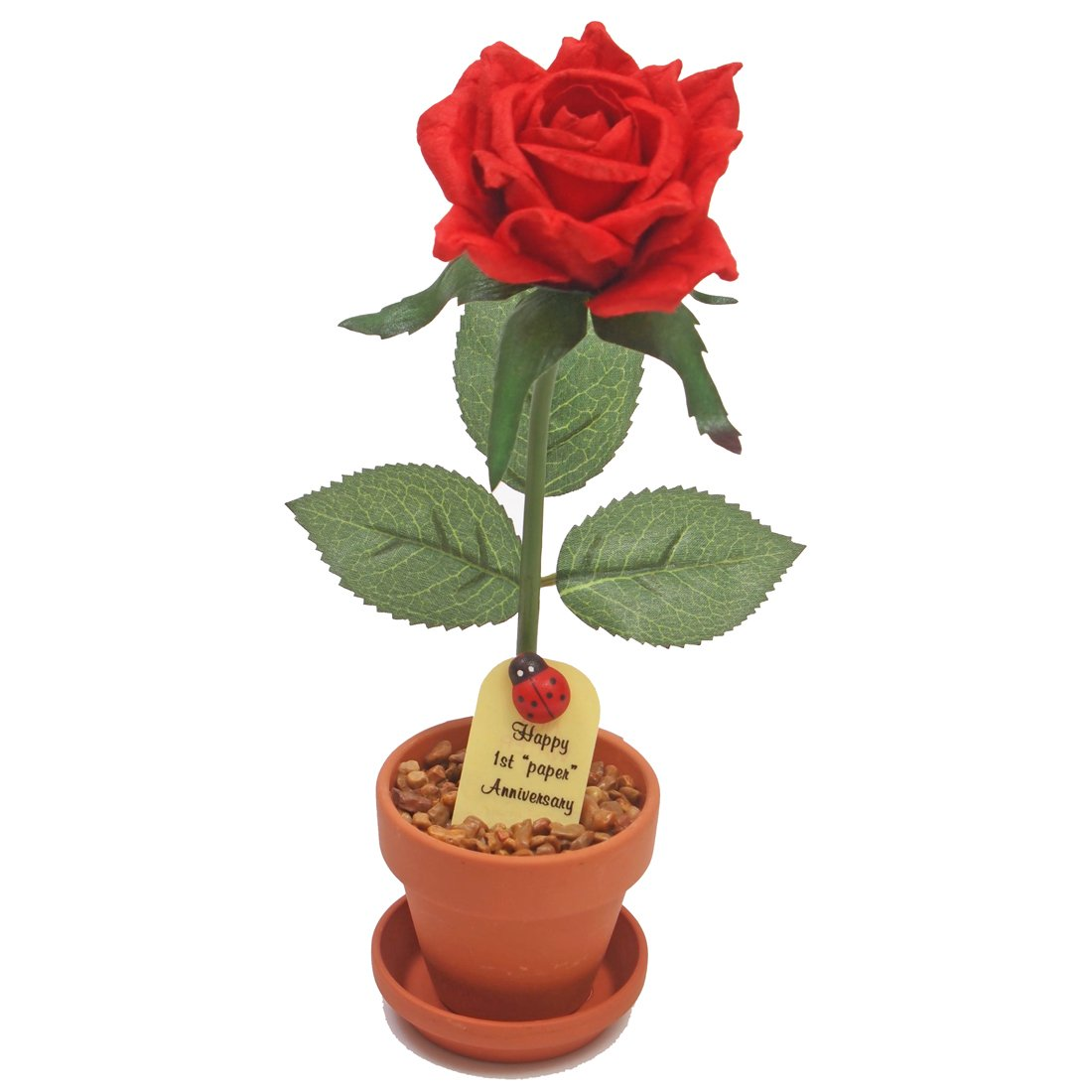 1st Paper Anniversary Gift, Potted Paper Desk Rose, 1st year Wedding Anniversary Gift for Him or Her