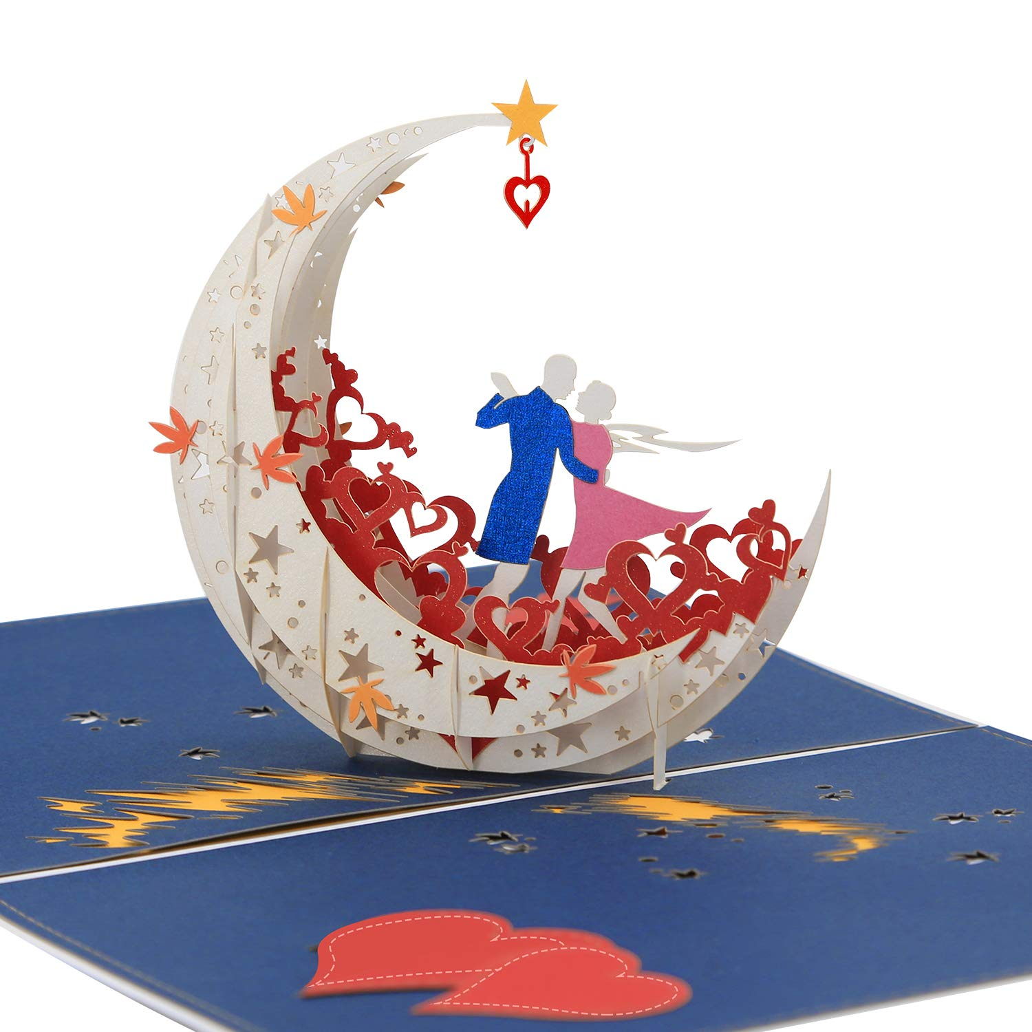 3D Pop Up Happy Anniversary Card- A Dance on Moon Boat To The Edge Of The World (large size) - Anniversary Gifts for Her, Happy Birthday Card for Wife, Miss You Card, Valentines Day Card by AITpop