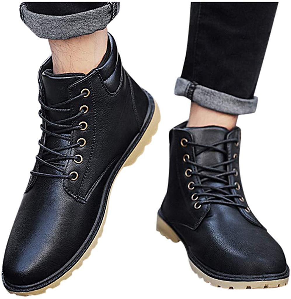 AgrinTol Men's Casual Flat Shoes Lace Up Warm Ankle Booties Motorcycle Combat Boots Outdoor Leather Shoes Hiking Boot