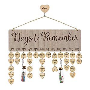 Airelon Gift for Wife, Birthday Calendar Board Wall Hanging DIY Wooden Family Days to Remember Calendar with Wishing Bottle Creative Birthday/Mother's Day