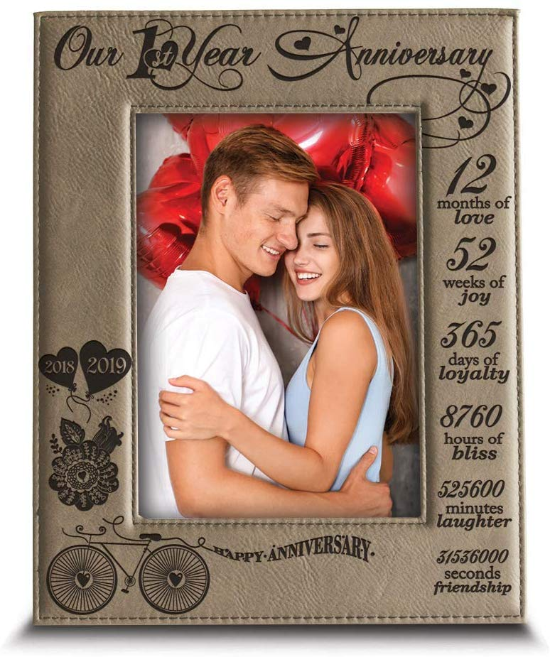 BELLA BUSTA - Our 1st Year Anniversary-2018-2019-Months, Week, Days, Hours, Minutes -Engraved Leather Picture Frame for Couple-Our 1st (4 x 6 Vertical)