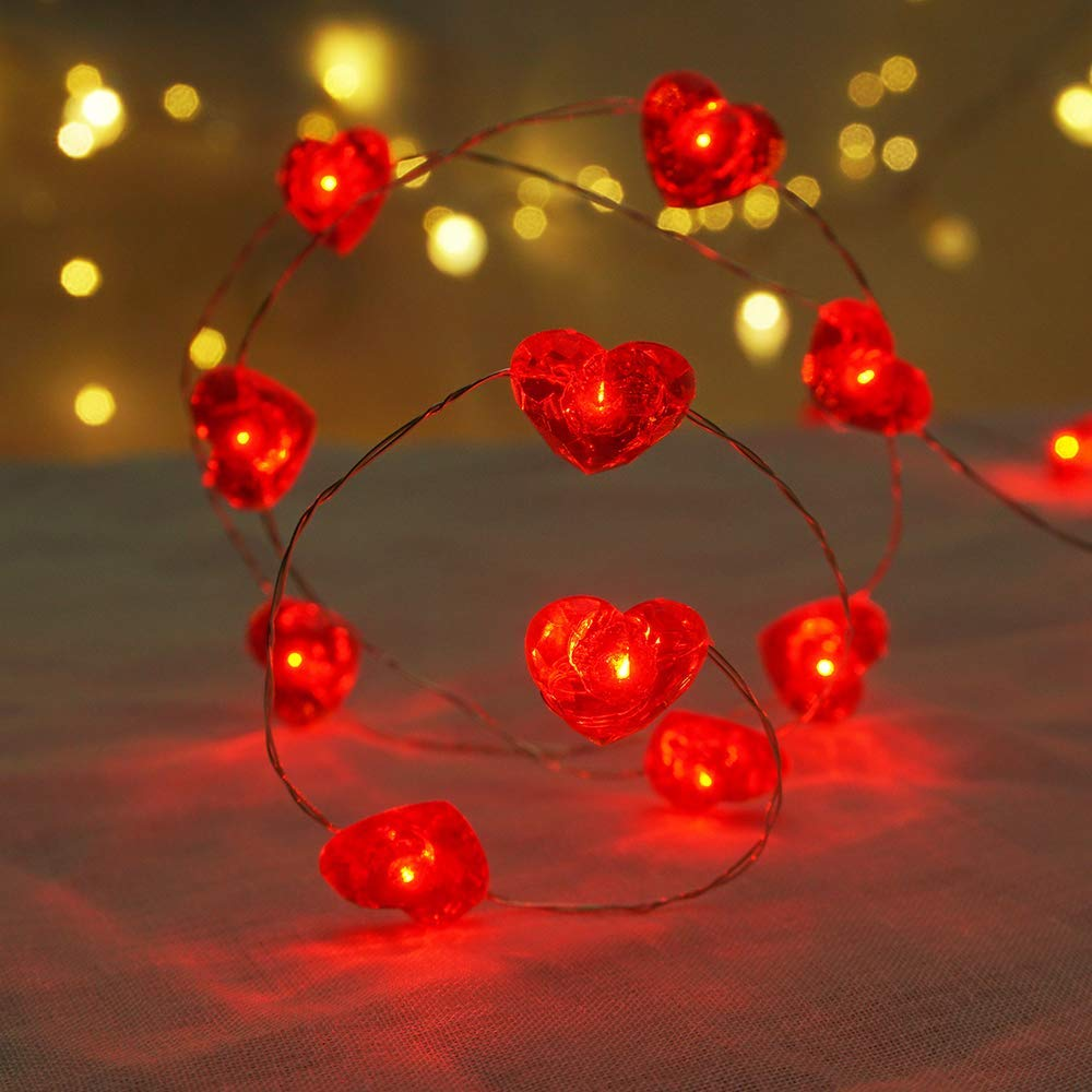 BOHON Fairy String Lights 10 ft 40 LEDs Red Heart Shaped Twinkle Fairy Lights Battery Operated for Kids Bedroom Wedding Indoor Party Valentine's Day Mother's Day Decor with Remote & Timer
