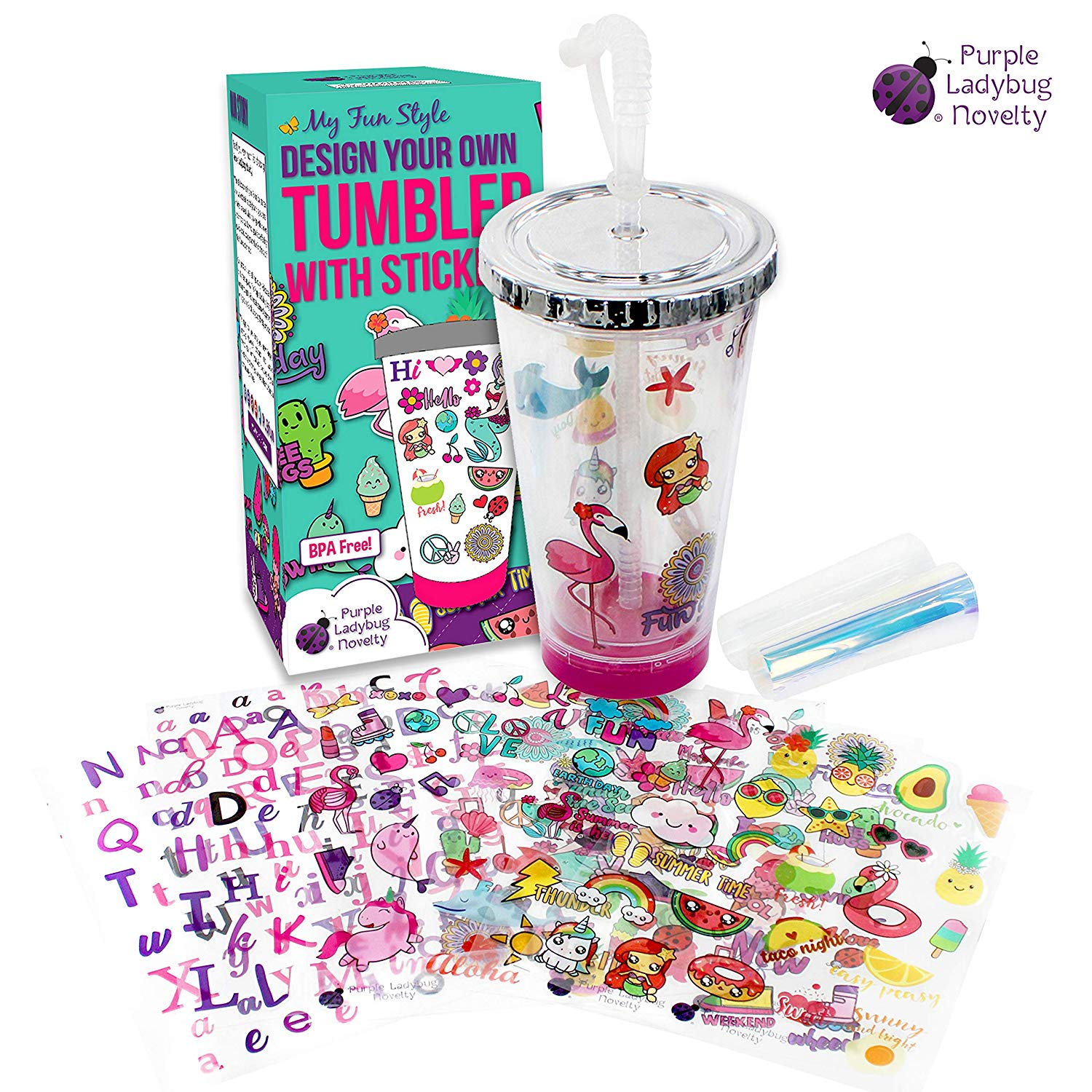 Create Your Own Personalized Tumbler for Girls with Waterproof Tumbler Stickers! Insulated Kids Tumbler with Lid and Straw | Makes a Great Gift for Gift, Fun DIY Art and Craft Kit for Children