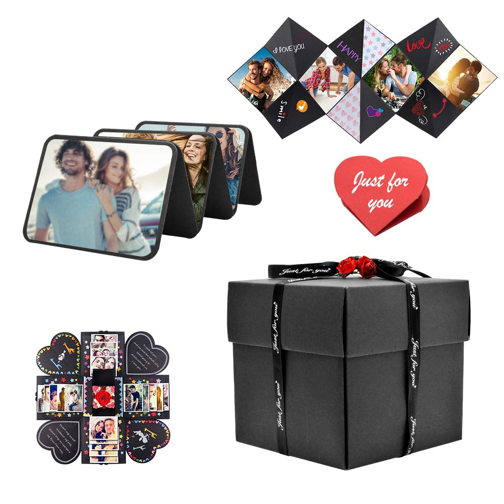 DIY Surprise Box Creative Birthday Gift Explosion Photo Album for Valentine Day Girlfriend Boyfriend Mother's Day Anniversary Gift with Tape Theme Sticker