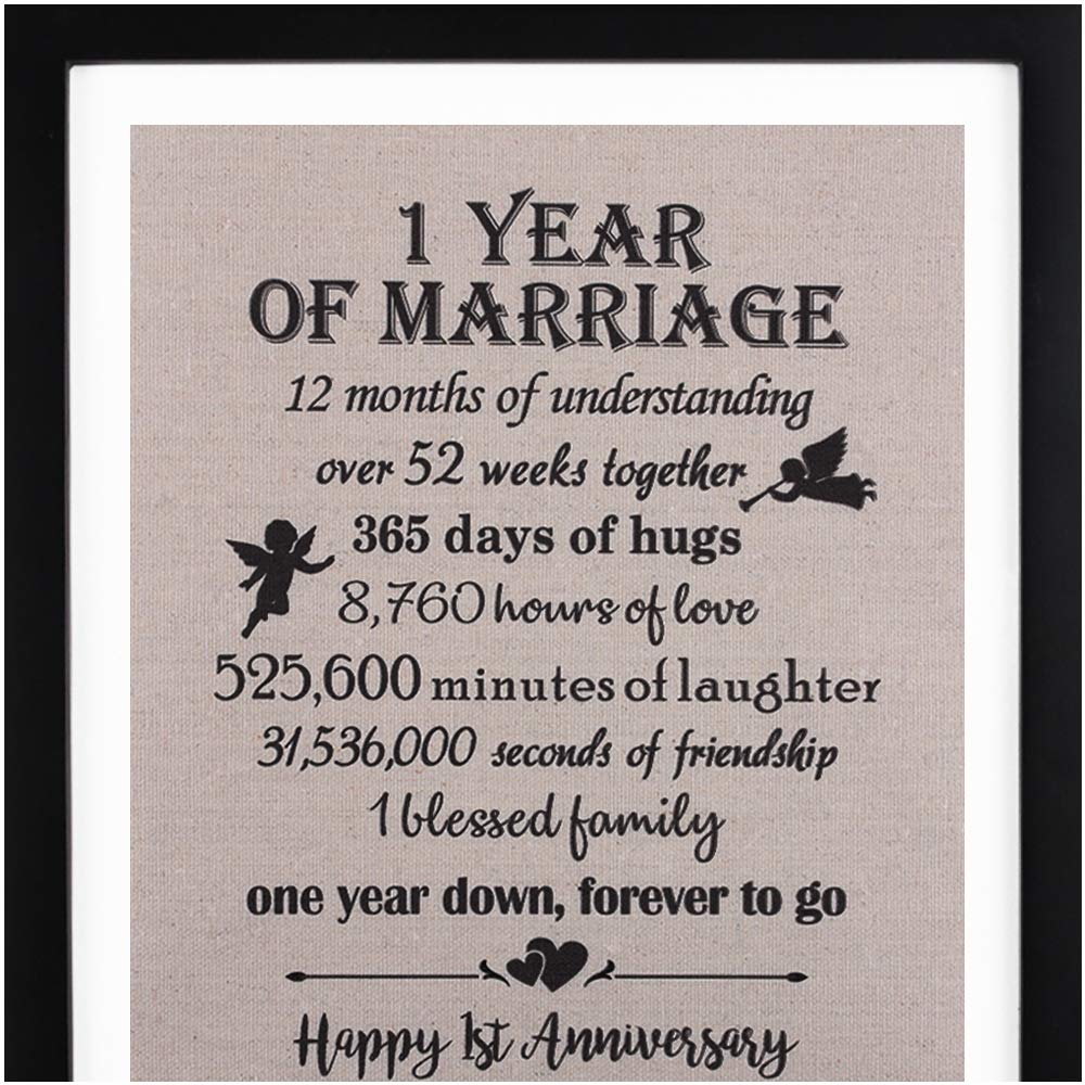 "Framed 1st Anniversary Burlap Print 11"" W X 13"" H, 1 Year Anniversary Gifts, 1st Anniversary Gifts for Couples"