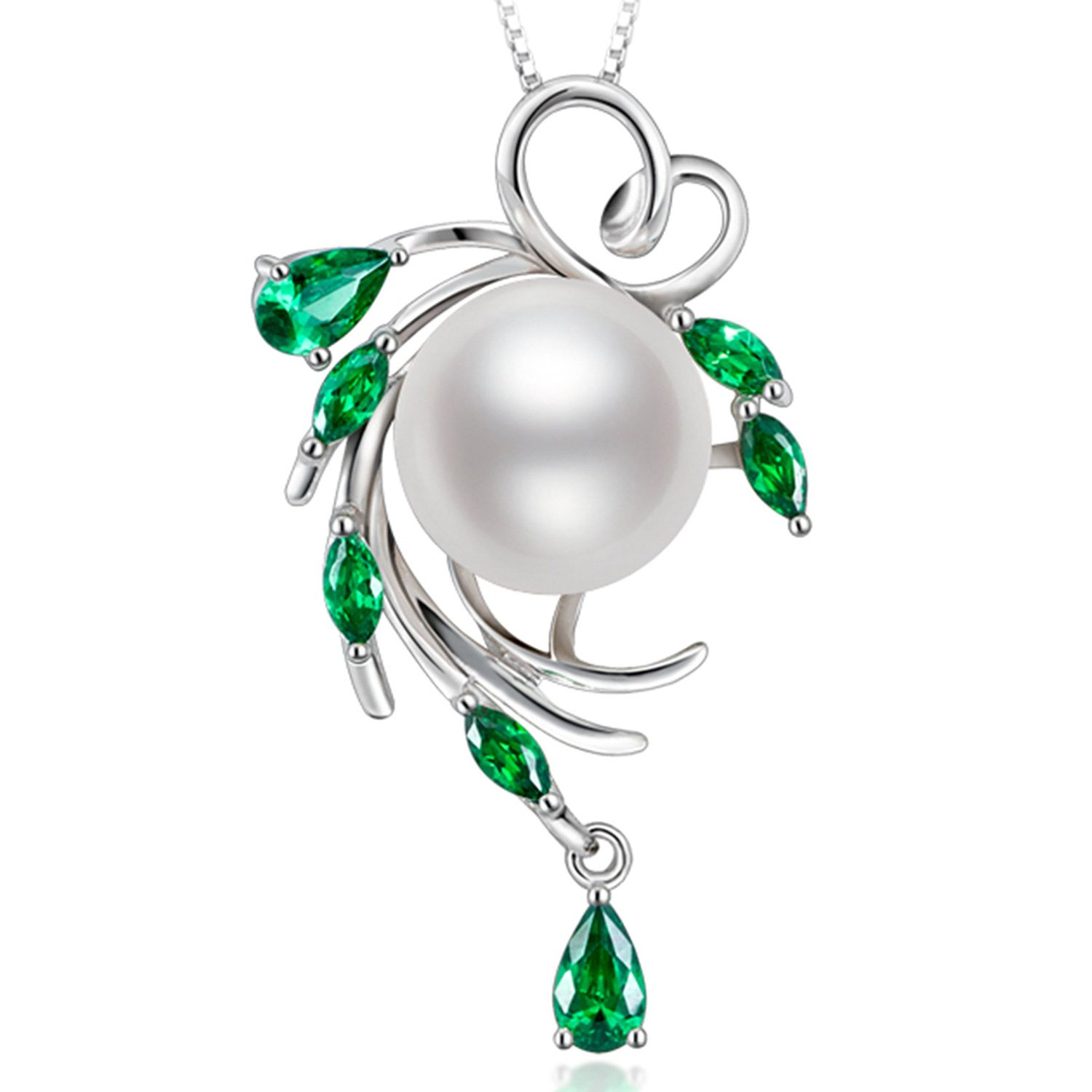 HXZZ Fine Jewelry Gifts for Women 925 Sterling Silver Freshwater Cultured White Pearl Pendant Necklace
