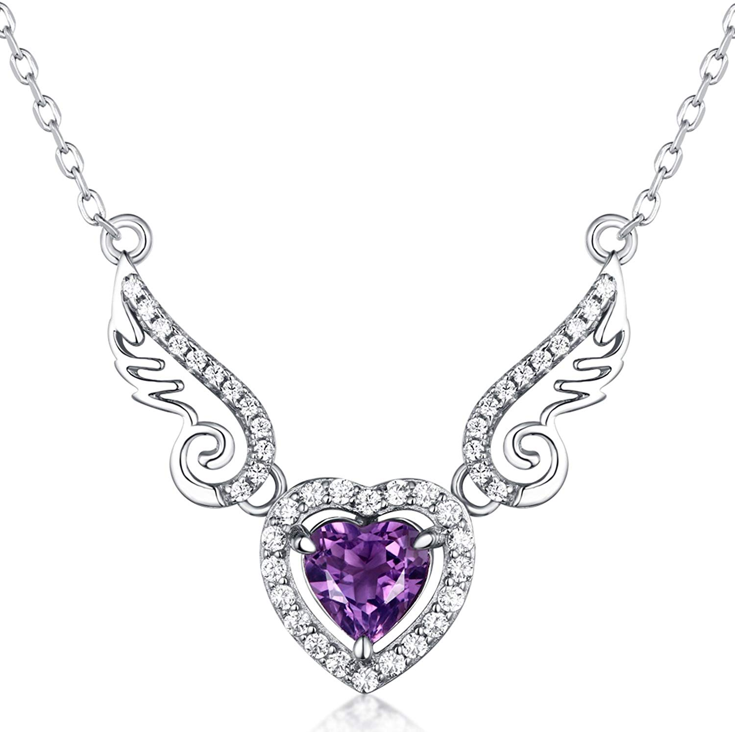 HXZZ Fine Jewelry Women Gifts 925 Sterling Silver Natural Gemstone Swiss Blue Topaz Amethyst Peridot Love Heart Angel Wings Pendant Necklace