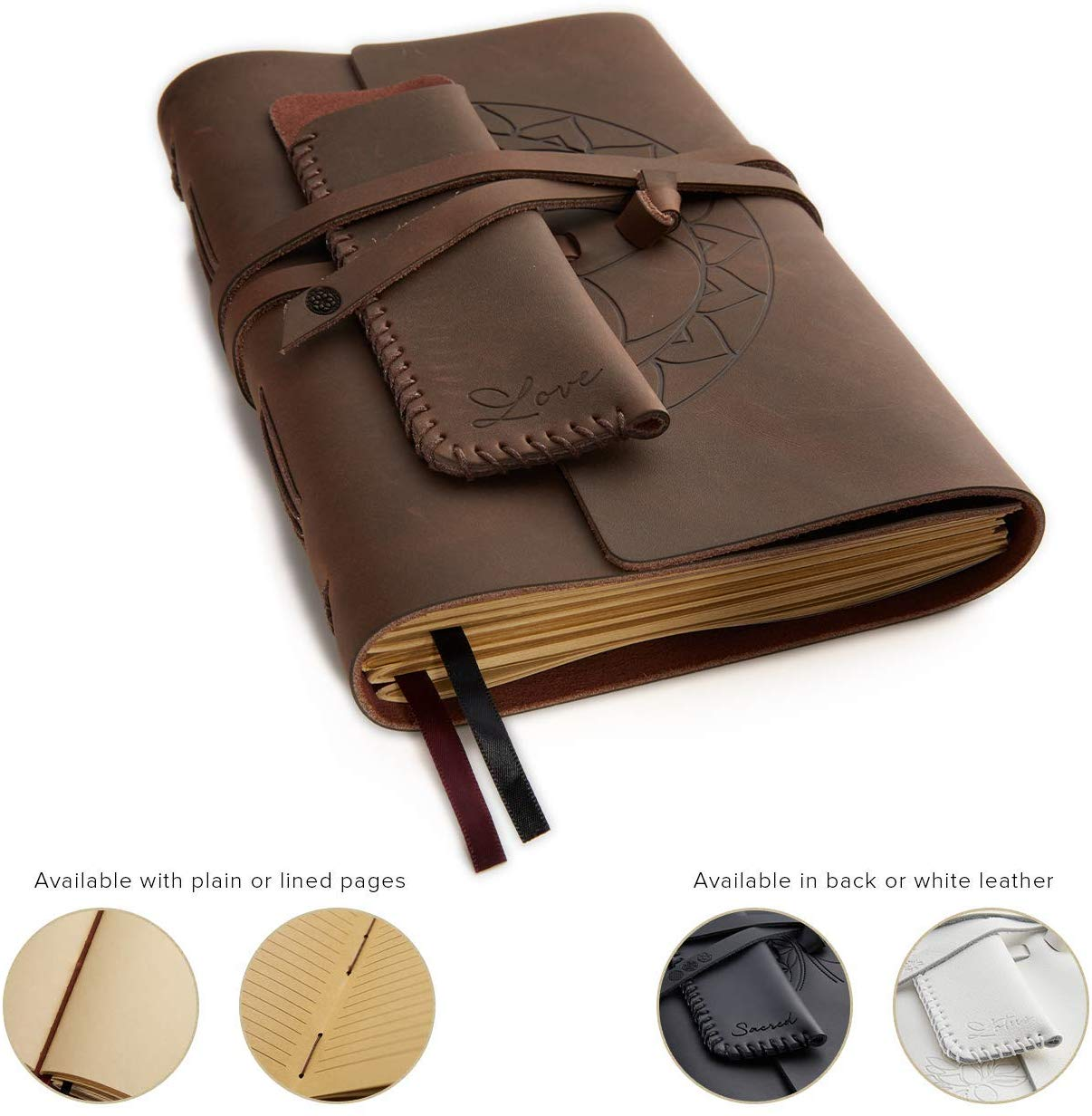 "Leather Journal for Women and Men + Pen Holder | 8"" x 6"" 