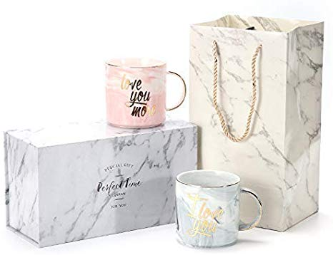 Luspan Funny Valentine's Day Gifts - I Love You Love You More Couples Coffee Mugs - Ceramic Marble Cups 13 oz - Packaged with Marble Gift Box and Marble Gift Bag
