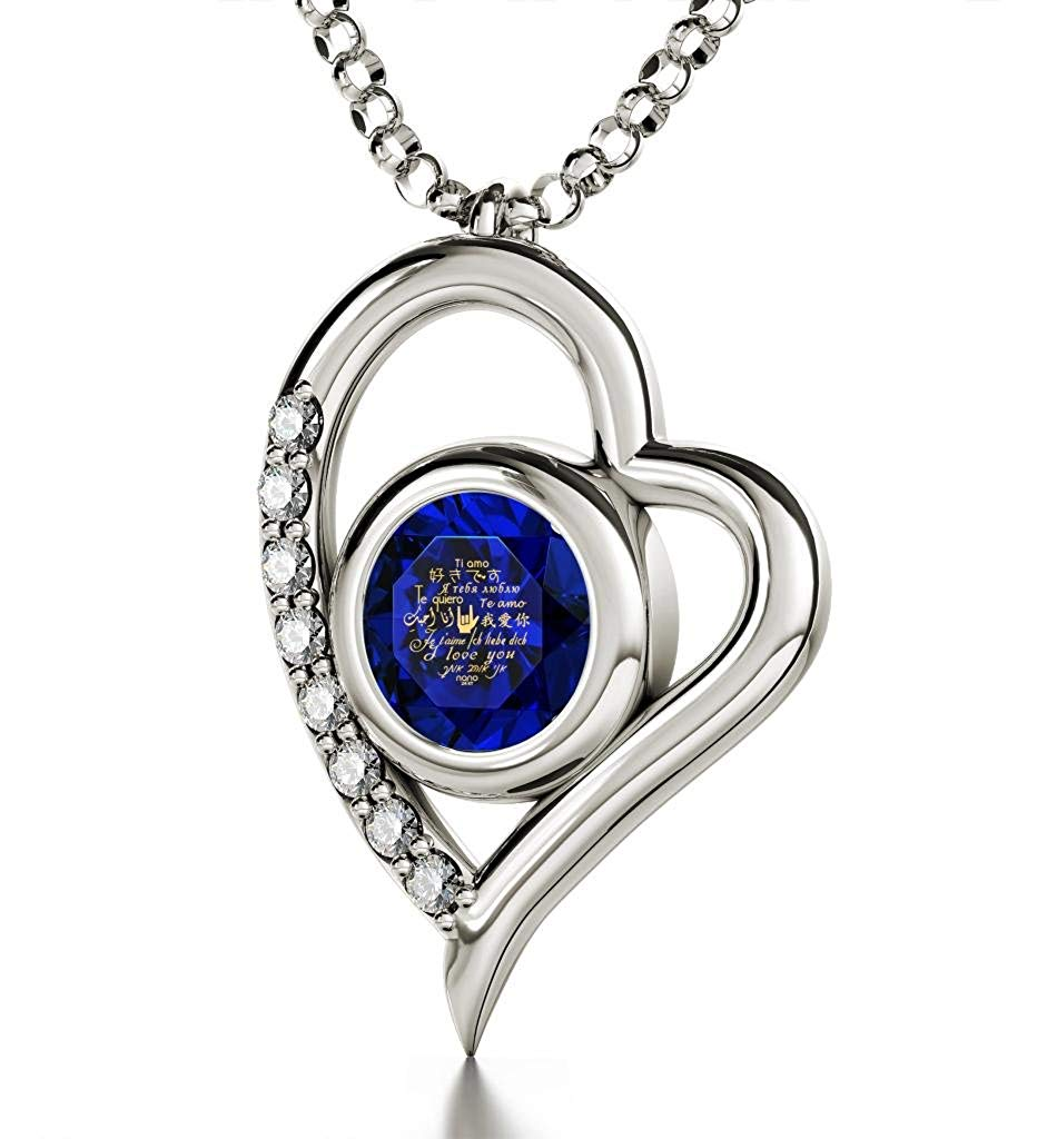 "Nano Jewelry 925 Sterling Silver I Love You Necklace CZ Heart Pendant in 12 Languages Inscribed in 24k Gold Including Sign Language in Miniature Text onto a Round Crystal, 18"" Rolo Chain"