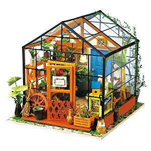 Robotime DIY Dollhouse Wooden Miniature Furniture Kit Mini Green House with LED Best Birthday Gifts for Women and Girls