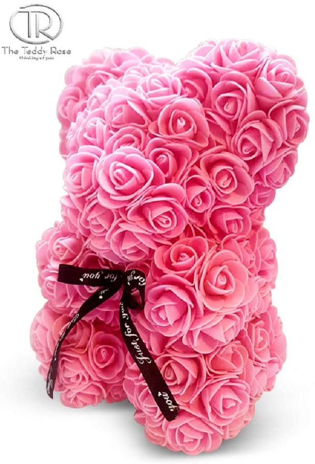 "The 10"" Pink Rose Hand Made Teddy Bear Artificial Forever Best Gift. Graduation Gift, Flowers for Valentine's Day, Mother's Day, Graduation, Christmas, Anniversaries, Birthdays, Weddings,"