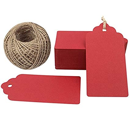Valentine Red Gift Tags,Red Kraft Tags 100PCS Paper Gift Tags with String Craft Tags Perfect for Arts and Crafts,Valentine's Day, Wedding Christmas Day and Holiday