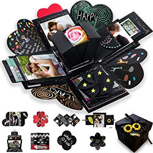 Wanateber Creative Explosion Gift Box, DIY - Love Memory, Scrapbook, Photo Album Box, as Birthday Gift, Anniversary Gifts, Wedding or Valentine's Day Surprise Box (Black)