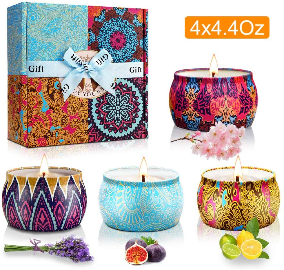 Y YUEGANG Scented Candles Gifts Set for Women, Natural Soy Wax,Fragrances Aromatherapy Candles Travel Tin, Birthday Valentine's Day Christmas Aromatherapy Anniversary Gift