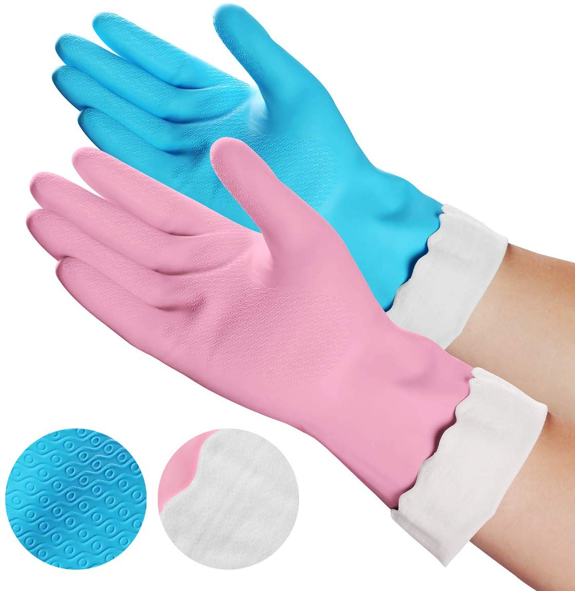 2 Pairs Cleaning Gloves, Reusable Waterproof Dishwashing Gloves Cotton Lining, Non-Slip Household Gloves for Washing Kitchen, Dishes, Bathroom, Car and More (Medium)