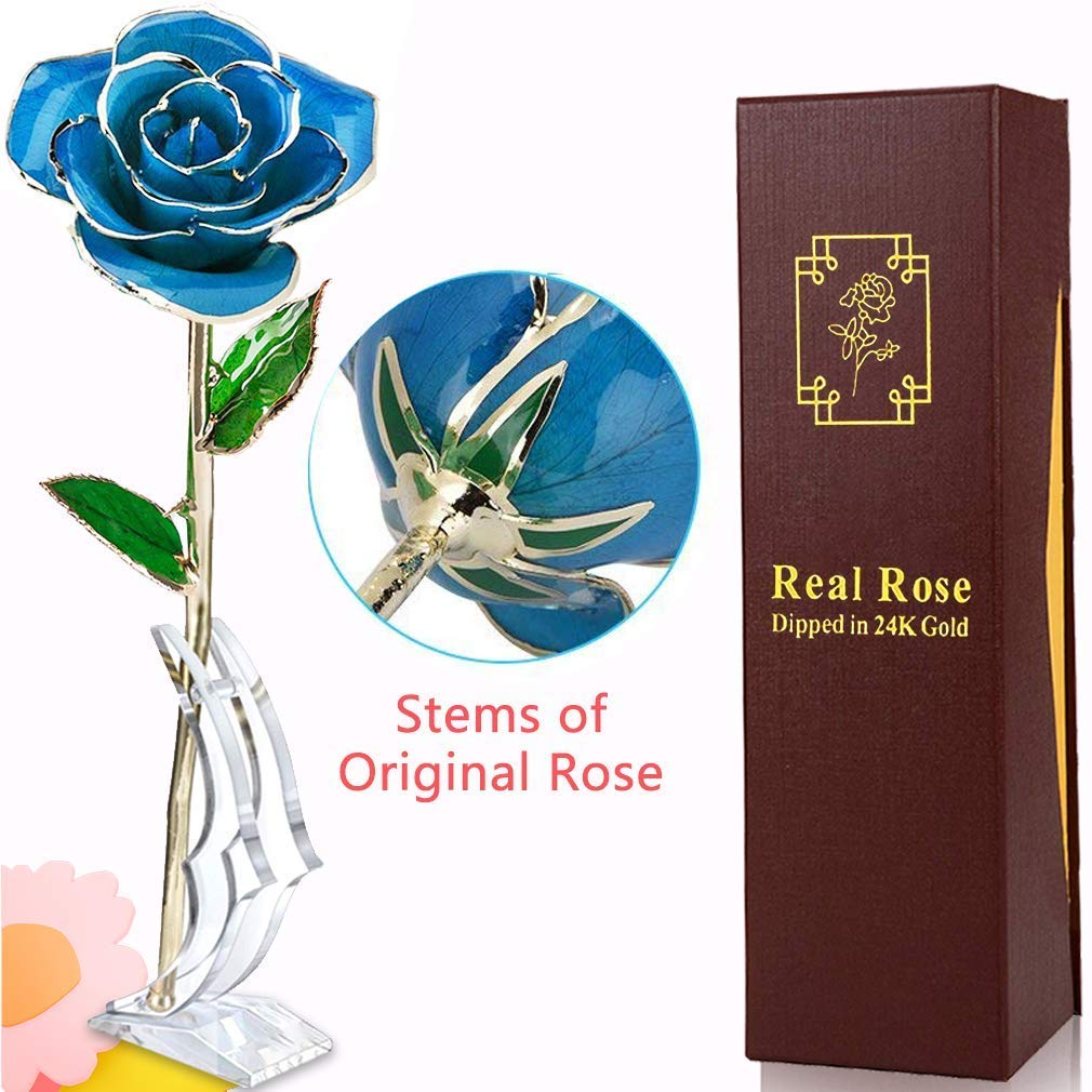 24k Gold Rose Flower Everlasting Real Rose Dipped in Gold Flowers with Transparent Moon Stand & Gift Box Women Girls Anniversary Wedding Gift for Her