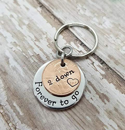 2nd Year Anniversary with 2 Down and Forever To Go Key Chain Lucky Copper 2017 Penny