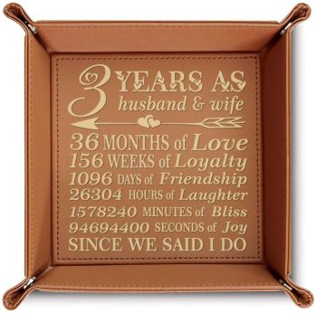 3 Years Engraved Leather Tray