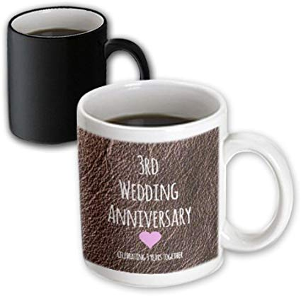 3dRose 3rd Wedding Anniversary Gift, Leather, 3 Years Together, Magic Transforming Mug, 11-Oz