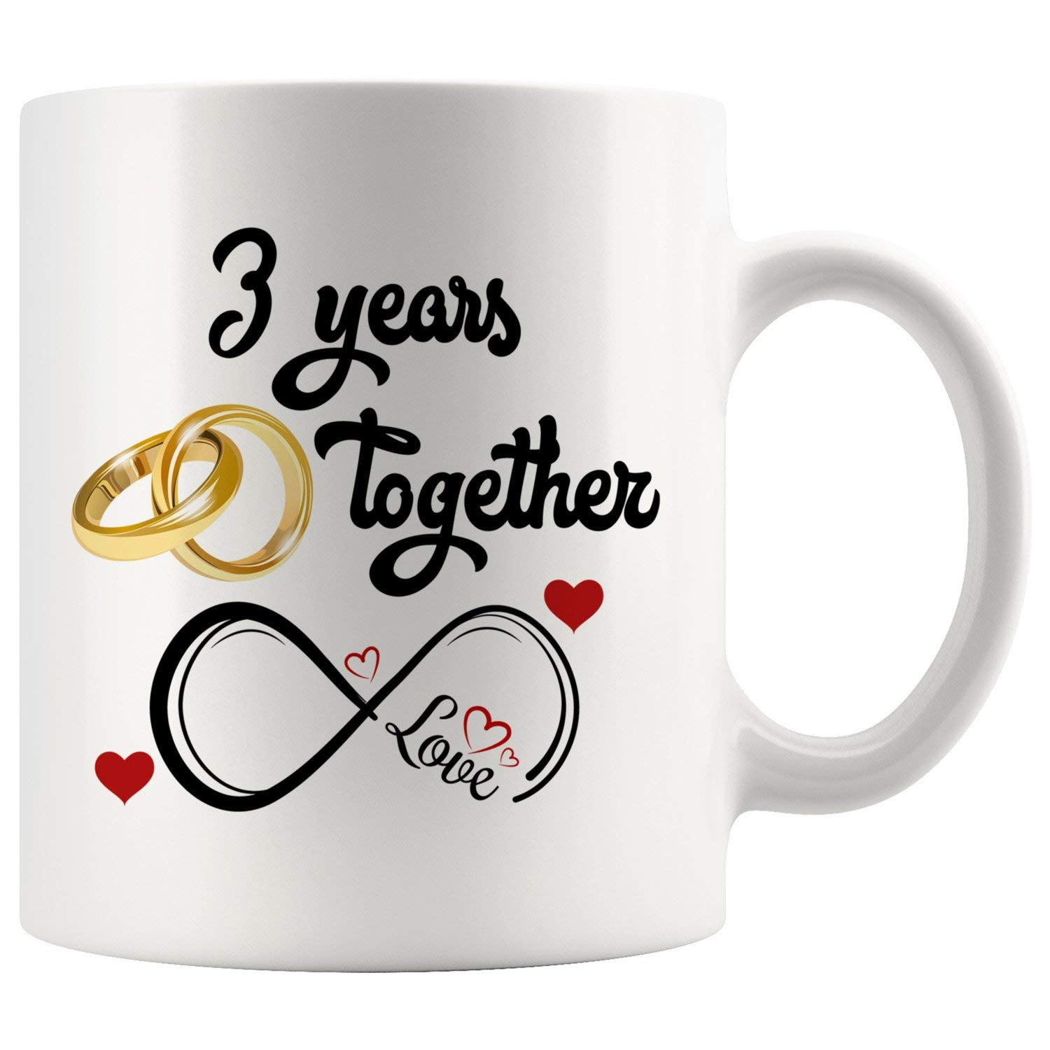 3rd Wedding Anniversary Gift For Him And Her, 3rd Anniversary Gifts For Her Him, Third Anniversary Mug For Husband & Wife, 3 Years Together, Married 3 Years, 3 Years Couple (11 oz)