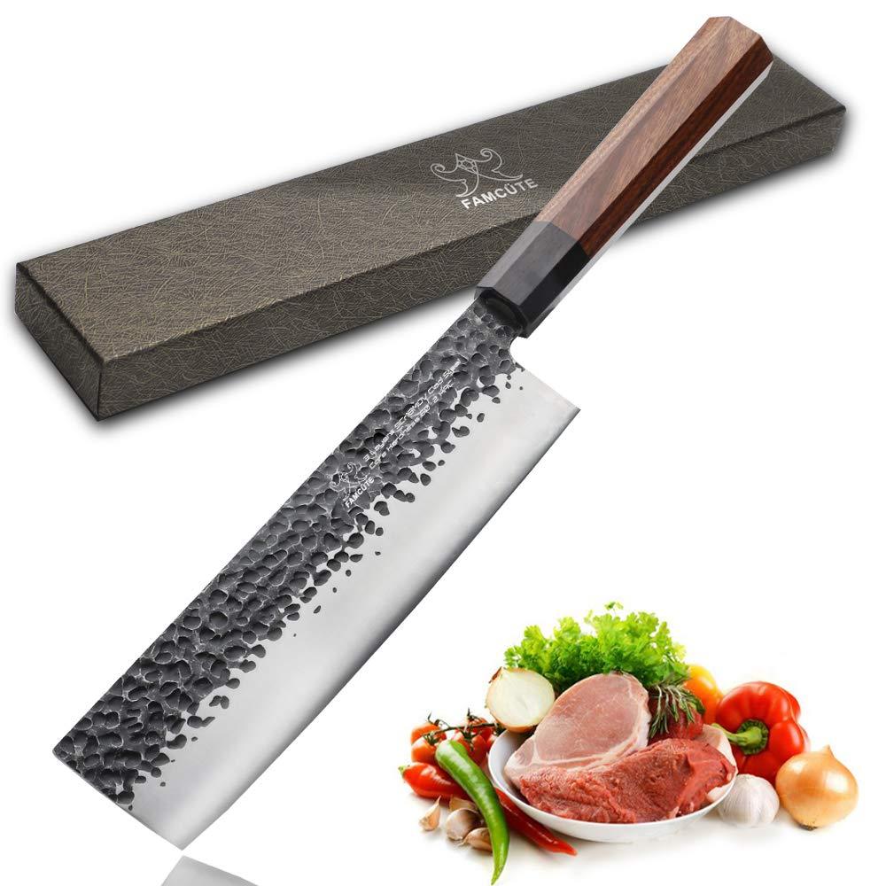 7 inch Nakiri Knife, 3 layer 9CR18MOV clad steel w/octagon handle Gyuto Knife Cut Vegetables Cut Meat/Fish Fruits