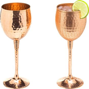 Copper wine glasses set of 2