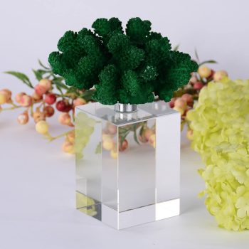 Green Coral Sculpture with Crystal Bases