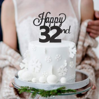 Happy 32nd glitter cake topper