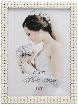 Silver Plated Picture Frame with Pearls