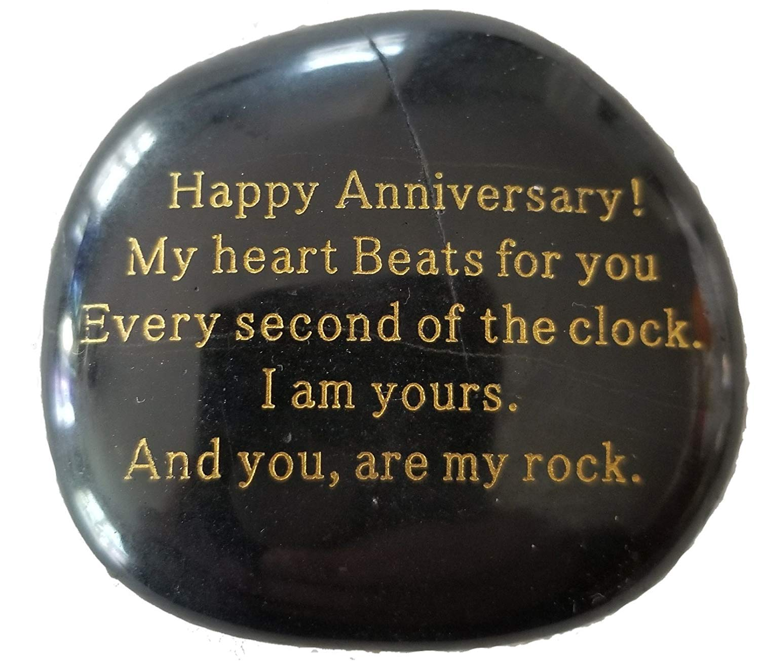 """Anniversary Gift""""Happy Anniversary! My heart Beats for you Every second of the clock. I am yours. And you, are my rock."""" Engraved Rock, Anniversary gifts for men or women."""
