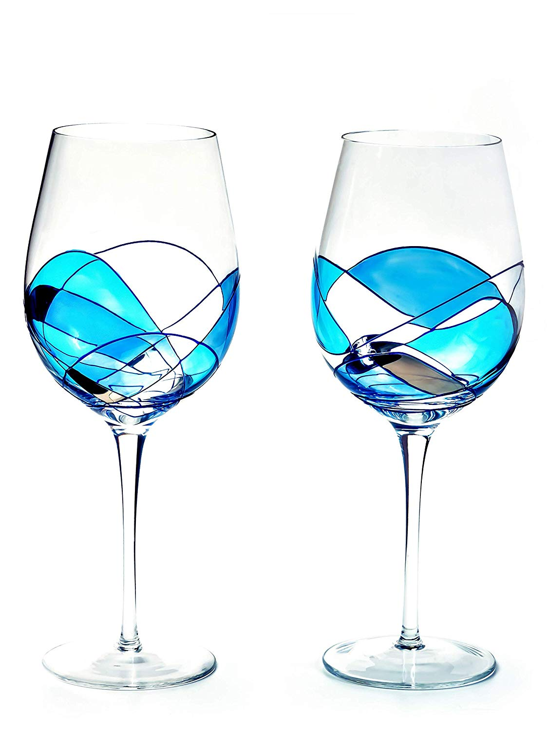 ANTONI BARCELONA Large Wine Glasses Set of 2 (29 Oz) - Handblown & Handmade, Painted Blue Wine Glass, Gifts for Women, Birthdays, Anniversaries, and Weddings - 2 Units (2 BLUE)