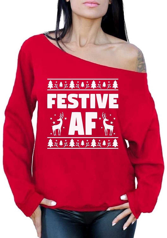 Awkward Styles Festive AF Sweatshirt Festive AF Sweater Ugly Christmas Off Shoulder Top