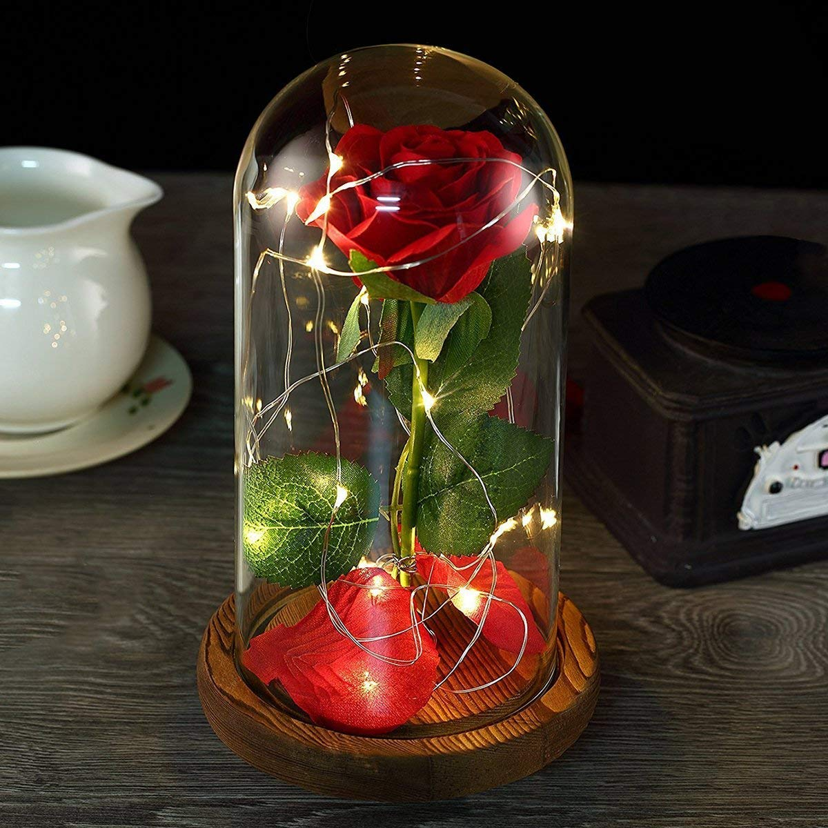 Beauty and the Beast Rose,Red Rose and LED Light in a Glass Forever Gifts for Her Anniversary Valentine's Day Mother Day Christmas Holiday Birthday Party (1)