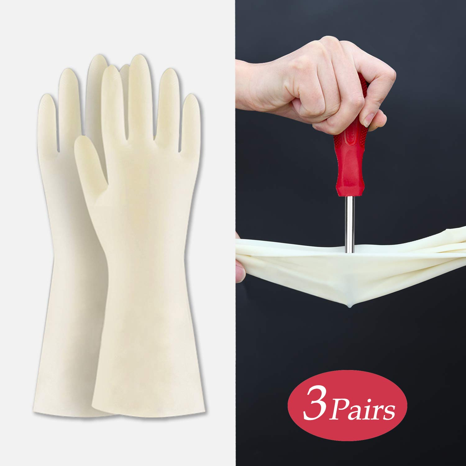 BOOMJOY Cleaning Gloves, Nitrile Rubber Kitchen Gloves Heavy Duty for Cooking, Washing Kitchen, Bathroom, Car & More, Creamy White, 3 Pairs, Size-L