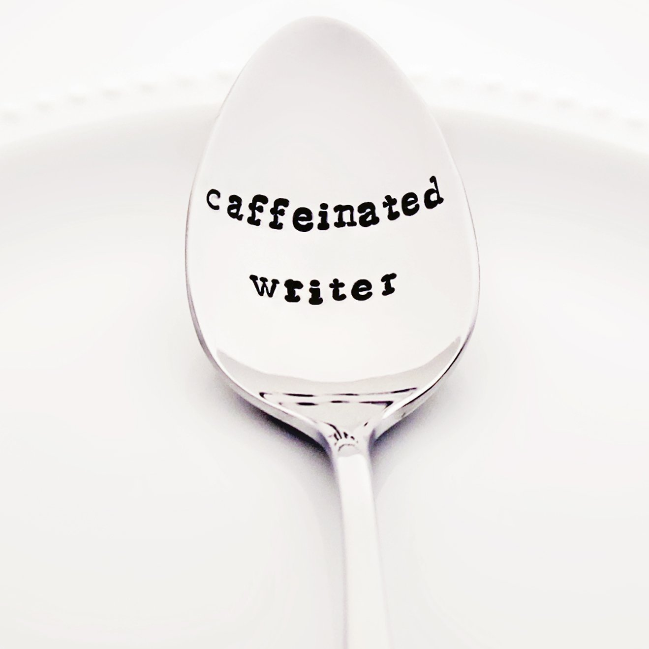 Caffeinated Writer - Stainless Steel Stamped Spoon, Stamped Silverware - Christmas Gifts for Writers