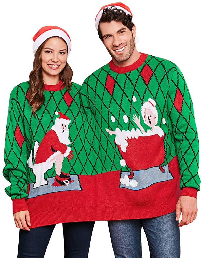 CHARMMA Crew Neck Long Sleeve Two Person Knit Pullover Ugly Christmas Sweater