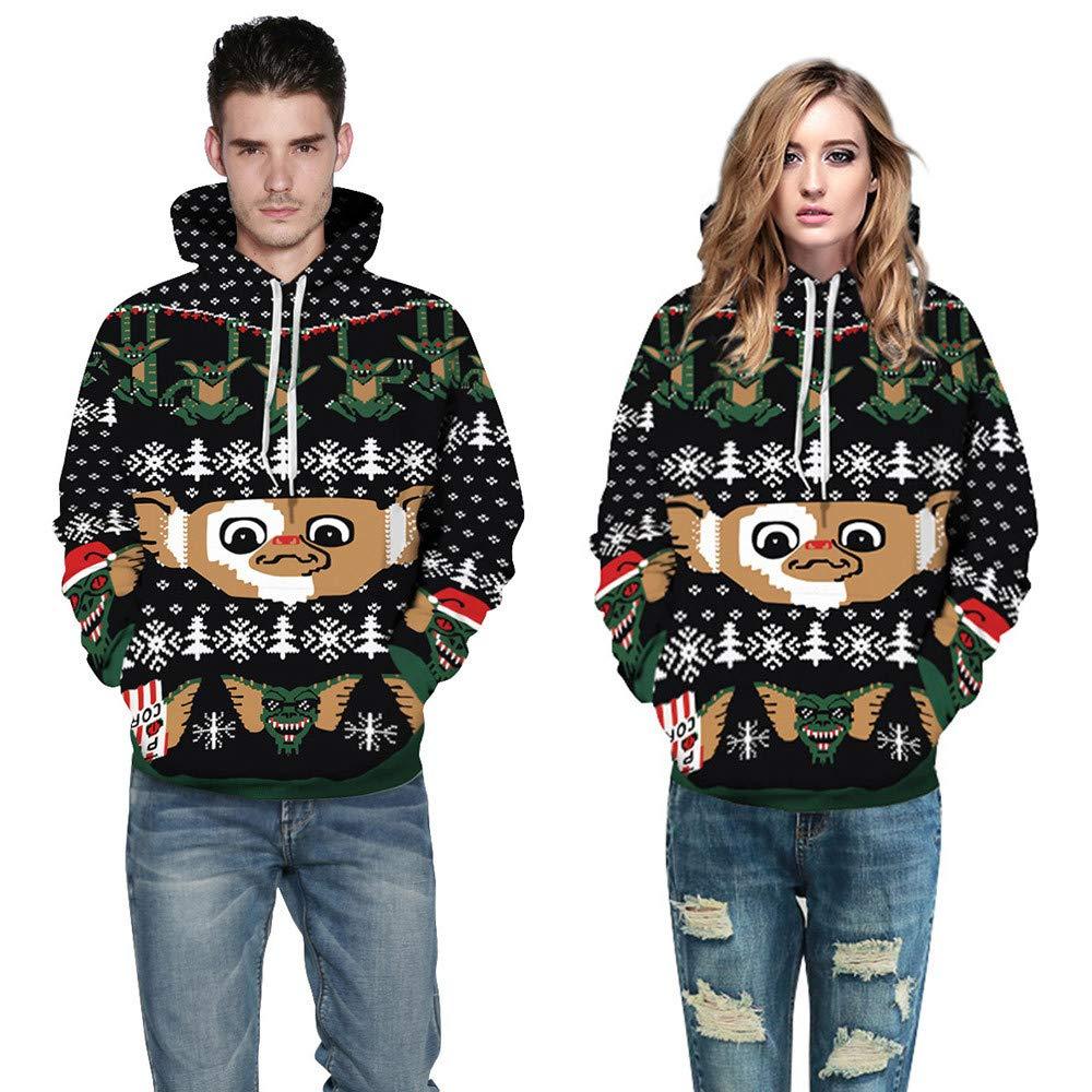Christmas Costume Couple's Sweatshirts Women Men 3D Print Hoodie Long Sleeve Pullover Top