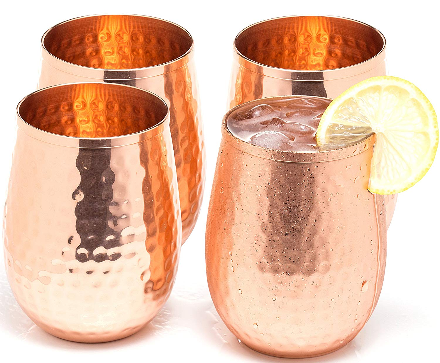 Copper wine glasses set of 4 – 17oz gleaming 100% solid hammered copper stemless wine cups – a perfect gift set for men and women – great copper tumblers for red or white wine and Moscow mules.