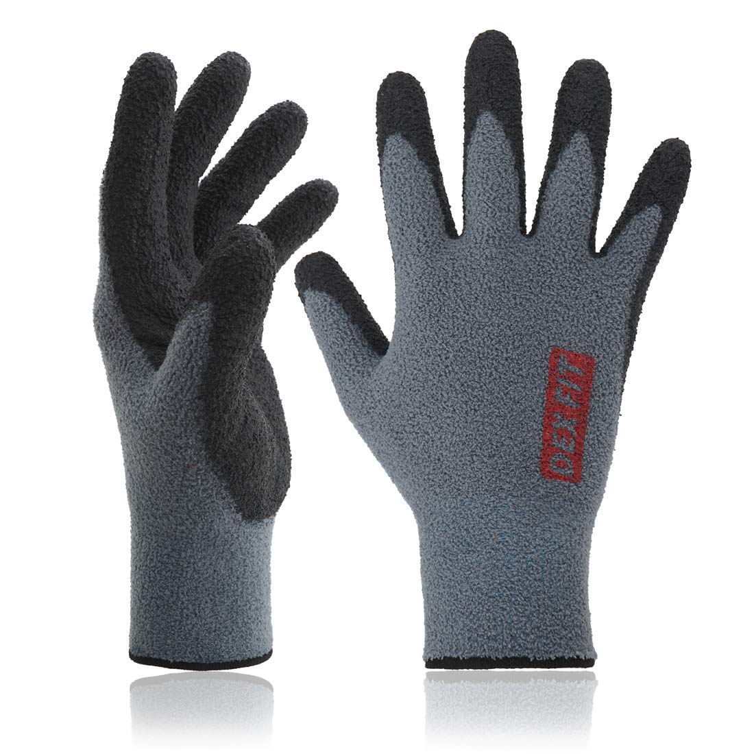 DEX FIT Warm Fleece Work Gloves NR450, Comfort Spandex Stretch Fit, Power Grip, Durable Nitrile Coated, Thin & Lightweight, Machine Washable Prime Grey, Small 3 Pairs Pack