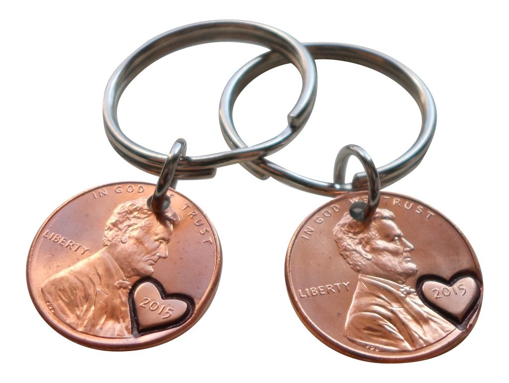 Double Keychain Set 2015 Penny Keychains With Heart Around Year; 4 year Anniversary Gift, Engraved Couples Keychain