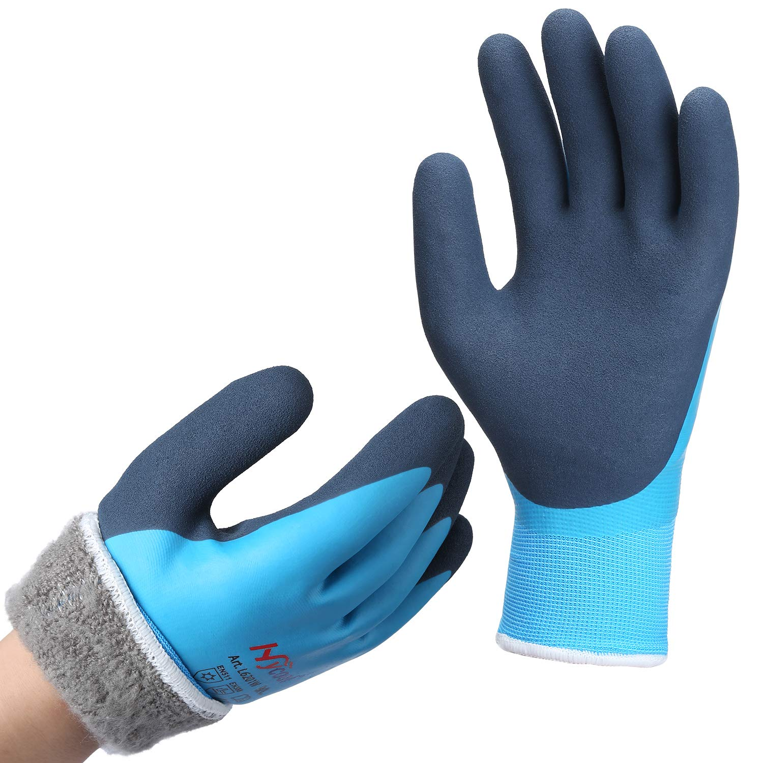 DS Safety Men's Waterproof Thermal Winter Work Gloves Double Coated Nylon Reinforced Insulated Gloves with Acrylic Terry Brushed Lined and 15 Gaugeblue Hycool Firm Grip - Size Small