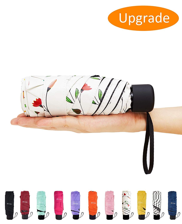 Elvira Mini Portable Sun&Rain Lightweight Umbrella-Compact Travel Umbrella with 95% UV Protection