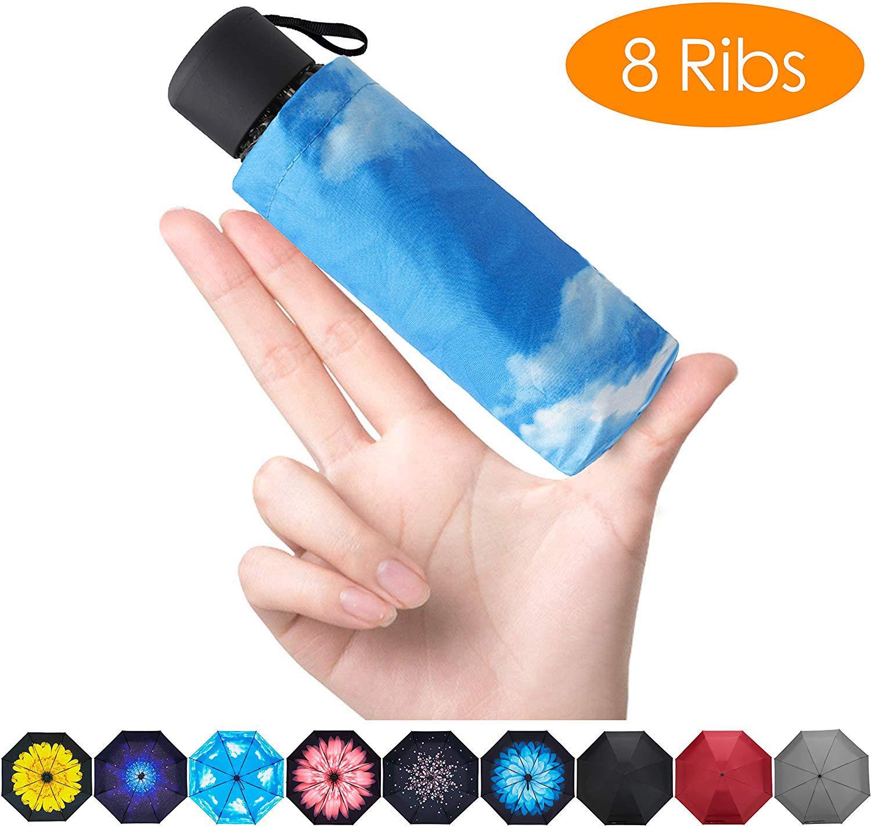 FidusUpgraded 8 Ribs Mini Portable Sun&Rain Lightweight WindproofUmbrella - Compact Parasol Outdoor Travel Umbrella for MenWomen Kids