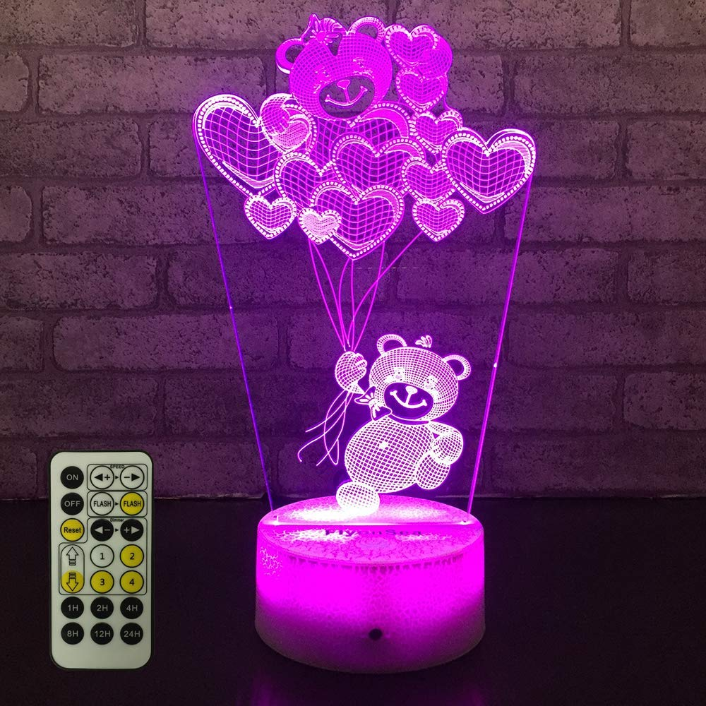 FlyonSea Love Light,Love Night Light Kids 7 Colors Change Remote Control with Timer Optical Illusion Kids Lamp As a Gift Ideas for Boys or Girls (Love Bear)