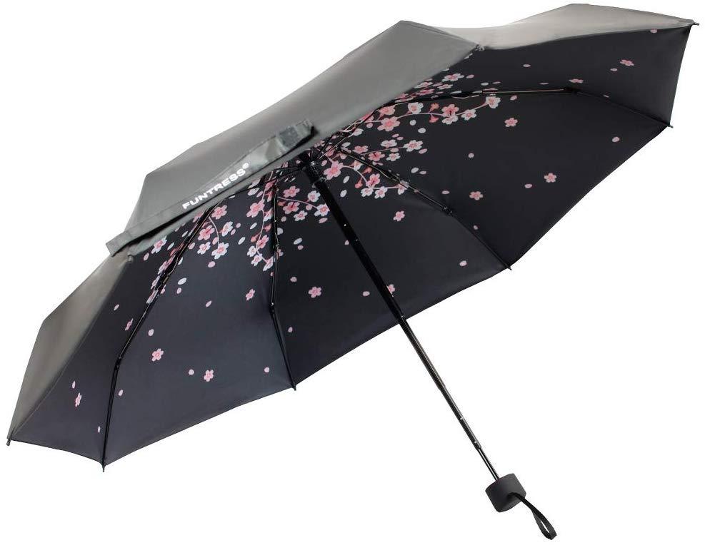 FUNTRESS Windproof Compact Travel Umbrella sun&rain Mini Umbrellas-Lightweight (Pink Peach)