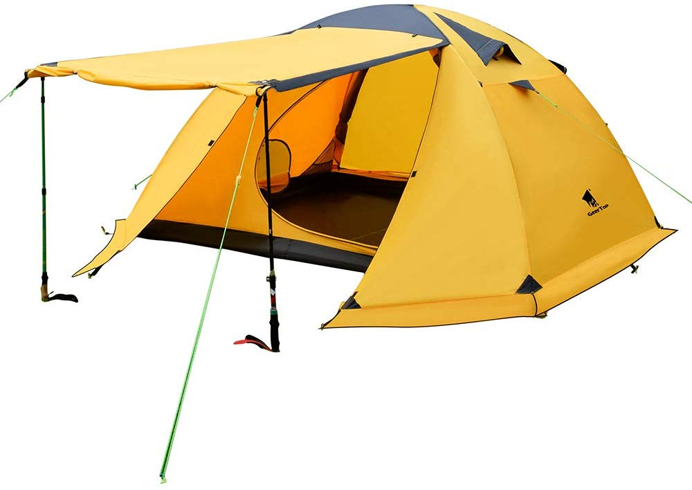GEERTOP Portable 4 Person 4 Seasons Backpacking Tent Double Layer Waterproof Larger Family Camping Tent Lightweight for Camp Outdoor Sports Hiking Travel Beach - Easy to Set Up
