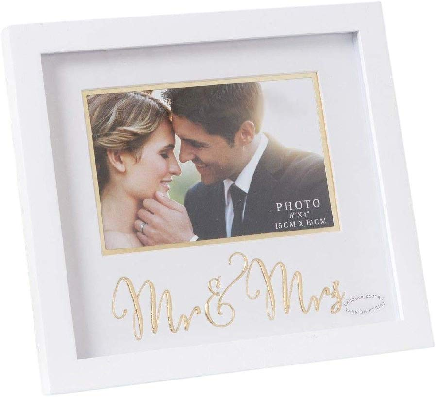 """Happy Homewares Mr & Mrs Gold 6"""" x 4"""" Picture Frame with White MDF Surround"""